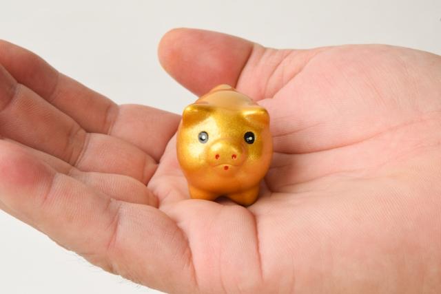 手のひらの金の豚