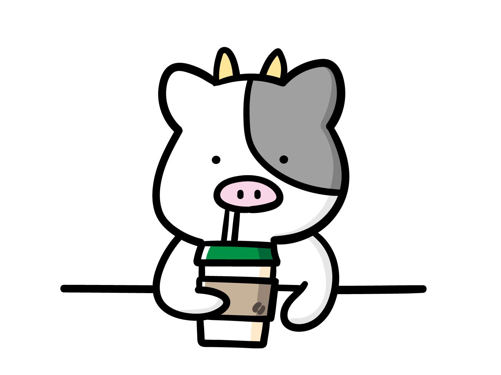 カフェでコーヒーを飲むうしくんのイラスト